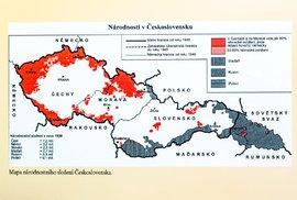 Mapa národnostního složení v Československu před válkou.