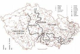 Mapa zobrazuje různé varianty slova rozinka na Moravě (v Čechách mapa ukazuje nesouvisející výskyty varianty názvů svátků svatého Štěpána)