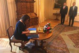 Janu Maláčovou (ČSSD) jmenoval prezident Zeman ministryní nezvykle v Lánech (30.7.2018)