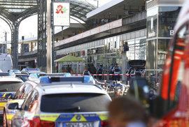Masivní zásah policie a hasičů na hlavním vlakovém nádraží v Kolíně nad Rýnem (15. 10. 2018)