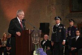 Miloš Zeman při projevu na předávání státních vyznamenání (28. 10. 2018)