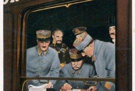 Podpis příměří v soukromém vagónu francouzského maršála Focha ukončil první světovou válku