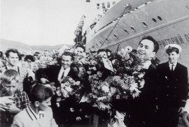 Přivítaní výpravy Jiřího Hanzelky a Miroslava Zikmunda v Nachodce, SSSR 13. 9. 1963