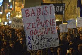 Protest proti Andreji Babišovi na Václavském náměstí v souvislosti s kauzou jeho syna Andreje juniora