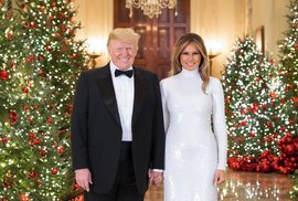 Vánoční portrét prezidenta USA Donalda Trumpa a první dámy Melanie Trumpové