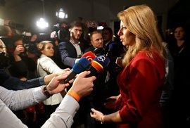 Prezidentské volby na Slovensku: Zuzana Čaputová ve svém štábu (16. 3. 2019)