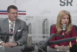 Zuzana Čaputová a Maroš Šefčovič v duelu před prezidentskými volbami