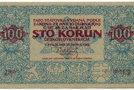 Prvním ryze československým platidlem se stala stokorunová státovka vydaná 15. dubna 1919