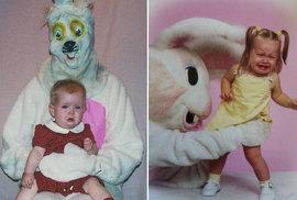 Úchylní velikonoční králíčci na fotkách s dětmi aneb Jak vyděsit své dítě i bez pomlázky