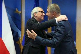 Český premiér Andrej Babiš a šéf Evropské komise Jean-Claude Juncker