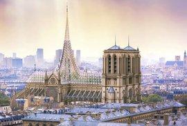 Nová Notre Dame s ovocným sadem u střechy. Slavný ekologický architekt zveřejnil odvážný návrh