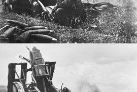 """Sovětský """"Photoshop"""" se uplatnil i ve válečné propagandě. Snímek zmoženého a nešťastného německého vojáka po vítězství Rudé armády po bitvě v Kurském oblouku v roce 1943 by možná žádné úpravy ani nepotřeboval. Rusové jsou však odjakživa megalomanští, takže nešťastníka pro efekt obložili dalšími zničenými děly a střelami, které už nevystřelí."""