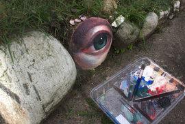 Australská malířka Jennifer Allnuttová umisťuje pomalované kameny do tasmánské přírody.