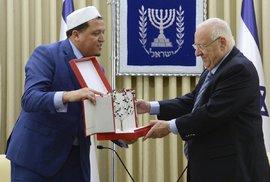 Setkání izraelského prezidenta Reuvena Rivlina a předsedy rady francouzských muslimských duchovních Hassana Chalghoumiho.