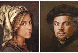 34 současných celebrit na slavných klasických obrazech: DiCaprio, Jolie i Eastwood