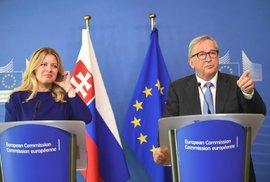 Slovenská prezidentka Čaputová s šéfem Evropské komise Junckerem během její návštěvy Bruselu