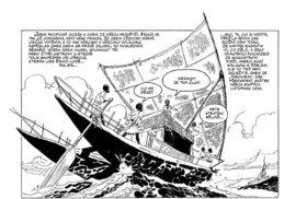 Ukázka z komiksu; povšimněte si rozrastrované plachty