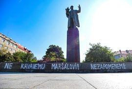 Socha maršála Koněva v Praze.