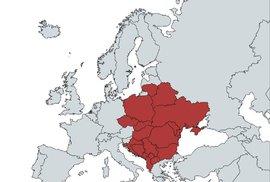 Mapa zemí v Evropě, kde se používá slovo ku*va