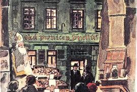 Karel Weis vychází ze své oblíbené hospody U Schnellů (kresba Adolfa Kašpara)