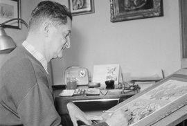 Spisovatel a ilustrátor Ondřej Sekora při práci.