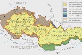 Území o která přišlo československo Mnichovskou dohodou.