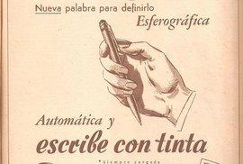 Reklamní plakát, který vycházel v argentinském tisku. Oznamuje vznik nového nástroje, kterým lze jednoduše a kvalitně psát.