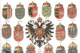 Znaky jednotlivých zemí monarchie.
