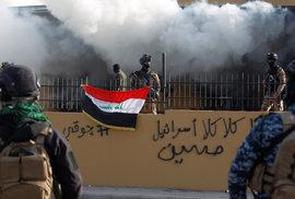 Protesty u americké ambasády v iráckém Bagdádu