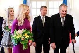 Novoroční oběd prezidenta Miloše Zemana s manželkou Ivanou a dcerou Kateřinou a premiéra Andreje Babiše s manželkou Monikou, dcerou Vivien a synem Frederikem 5. ledna 2020 na zámku v Lánech.