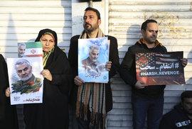 Írán se bouří a truchlí kvůli zabití íránského generála Kásema Solejmáního (6.1.2020)