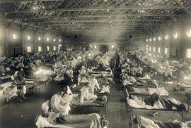 Nemocnice v Kansasu s pacienty, kteří onemocněli španělskou chřipkou
