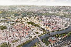 Prostor holešovických Buben –  plánovaný stav budoucí, včetně pozemku pro budovu filharmonie mezi Štvanickým mostem a Negrelliho viaduktem