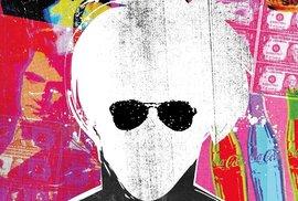 Andy Warhol a mapa jeho práce v komiksu, kde se divně mluví