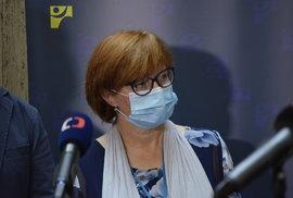 Tisková konference ministerstva zdravotnictví. Účastnila se hlavní hygienička Jarmila Rážová (3.8.2020)