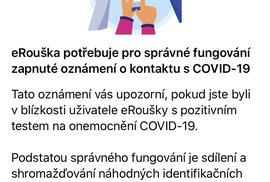 Při aktivaci aplikace eRouška je nutné povolit aby vám mohla zasílat oznámení
