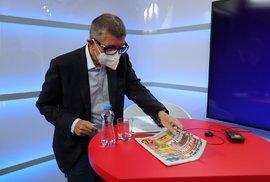 """Premiér Andrej Babiš (ANO) si během rozhovoru pro Blesk Zprávy """"trhnul"""" (4.10.2020)"""