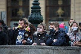 Demonstrace odpůrců vládních nařízení proti koronaviru na pražském Náměstí Republiky (28. 10. 2020)