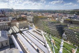 Pozměnená podoba prvních dvou kancelářských budov v developerském projektu skupiny Penta u Masarykova nádraží v Praze.
