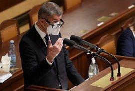 Schůze Poslanecké sněmovny, 30. října 2020 v Praze. Na snímku je premiér Andrej Babiš.