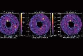 Přibližně takto bude vypadat snímek z koronografu. Vidět jsou na něm dvě planety o velikosti Jupiteru (žluté skvrny)