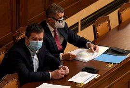 Zleva vicepremiér Jan Hamáček (ČSSD) a premiér Andrej Babiš (ANO) na mimořádné schůzi Poslanecké sněmovny (9. 12. 2020)