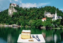 Vyhlášený dezert bledska kremšnita u Bledského jezera