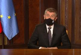 Premiér Andrej Babiš (ANO) během svého novoročního projevu (1.1.2021)