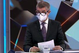 Premiér Andrej Babiš (ANO) v Partii na televizi Prima (3. 1. 2021)