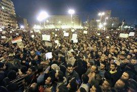 Demonstrace na náměstí Al Tahir v centru Káhiry.