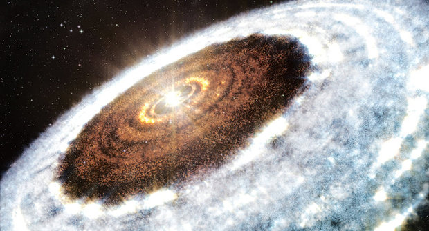 """Sněžná čára u žravé hvězdy """"rodí"""" planety"""