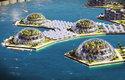 Část plovoucího města je vyhrazena solárním panelům a skleníkům