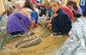 V rámci Mobilního triloparku děti vyhrabávají maketu kostry dinosaura Deinonychus