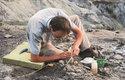 Paleontologické vykopávky na nalezišti Tanis v Severní Dakotě